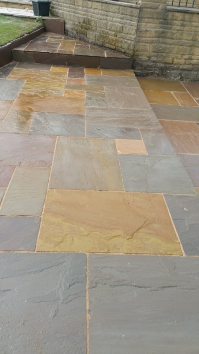 completed indian sandstone patio
